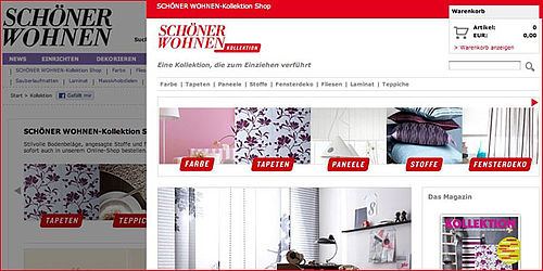 sch ner wohnen online shop gestartet. Black Bedroom Furniture Sets. Home Design Ideas