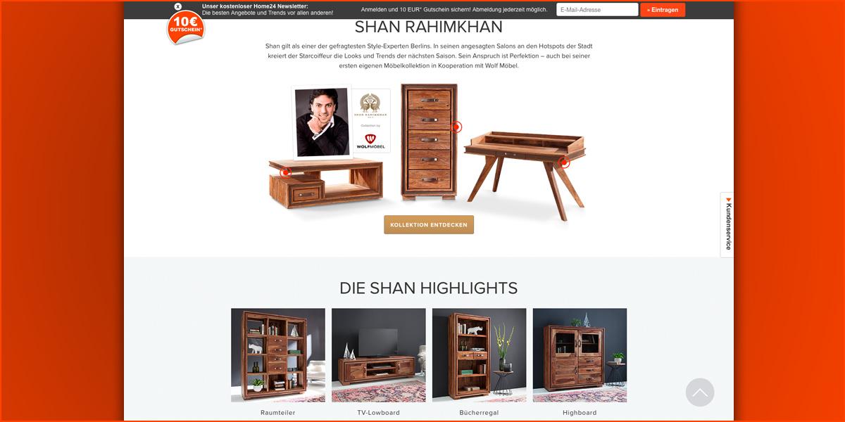 home24 sichert sich online exklusiv die shan rahimkhan kollektion von wolf m bel. Black Bedroom Furniture Sets. Home Design Ideas